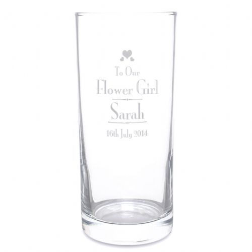 Personalised Decorative Wedding Flower Girl Hi Ball Glass